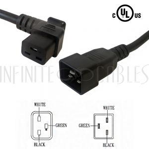 12ft IEC C19 Right Angle to IEC C20 Power Cable - 12AWG SJT