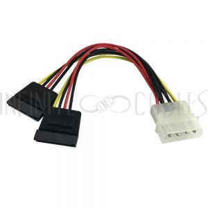 SA-911-06 6 inch 4 pin Power to 2x 15-pin SATA Power Cable