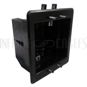 Recessed Box, Double Gang - Enclosed Back for A/V or Power - Black