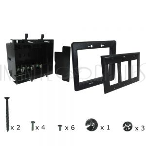 Recessed Box, Triple Gang - Enclosed Back for A/V or Power - Black