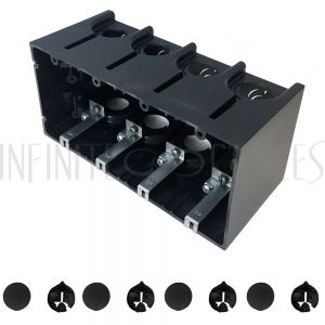 Outlet Box, Four Gang - Power or Low Voltage, New / Existing Construction