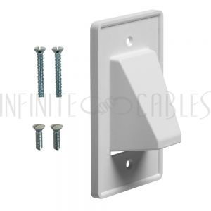 Cable Pass-through Wall Plate, Single Gang Reversible - White