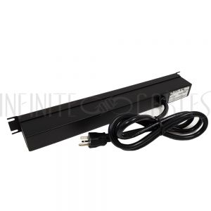 1589T8F1BKRF Hammond 19 inch 8 Outlet Horizontal Rack Mount Power Strip - 6ft Cord, 5-20P Plug, 5-20R Front Receptacles