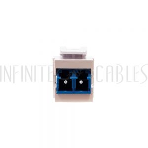 WP-IN-LC-BL LC/LC Keystone Wall Plate Insert White- Singlemode UPC Duplex - Blue - Infinite Cables