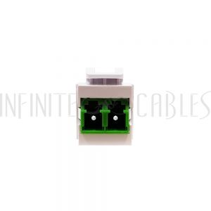 WP-IN-LC-GN LC/LC Keystone Wall Plate Insert White- Singlemode APC Duplex - Green - Infinite Cables