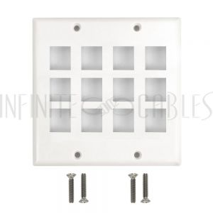 WP-12PF-WH Wall Plate Flush Style, 12-Port Keystone Double Gang - White - Infinite Cables