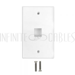WP-1PF-WH Wall Plate Flush Style, 1-Port Single Gang Keystone - White - Infinite Cables