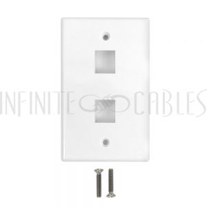 WP-2PF-WH Wall Plate Flush Style, 2-Port Single Gang Keystone - White - Infinite Cables
