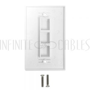 WP-3PF-WH Wall Plate Flush Style, 3-Port Single Gang Keystone - White - Infinite Cables