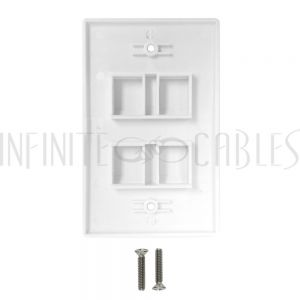 WP-4PF-WH Wall Plate Flush Style, 4-Port Single Gang Keystone - White - Infinite Cables