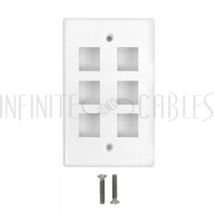 WP-6PF-WH Wall Plate Flush Style, 6-Port Single Gang Keystone - White - Infinite Cables