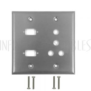 Double Gang, 2-Port DB9 size cutout + 4 x 3/8 inch hole Stainless Steel Wall Plate
