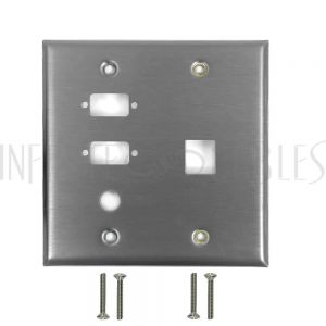 Double Gang, 2-Port DB9 size cutout , 1 x 3/8 inch hole, 1 x Keystone Stainless Steel Wall Plate