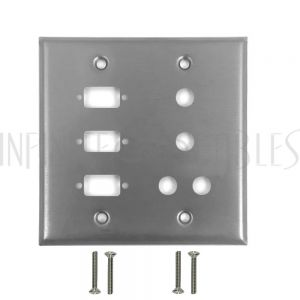 Double Gang, 3-Port DB9 size cutout , 4 x 3/8 inch hole Stainless Steel Wall Plate