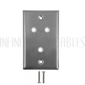 Wall Plate, 3 Hole, Stainless Steel