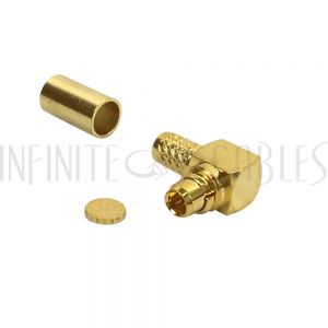 MMCX Male Right Angle Crimp Connector for RG174 (LMR-100) 50 Ohm