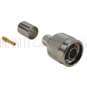 N-Type Reverse Polarity Male Crimp Connector for RG8 (LMR-400) 50 Ohm