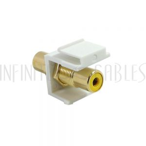 RCA Female/Female Keystone Wall Plate Insert White, Gold Plated - Yellow