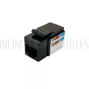 RJ45 Cat5e Slim Profile Jack, 110 Punch-Down - Black